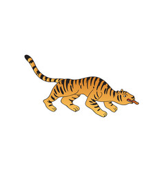 tiger tattoo on white background flat vector image