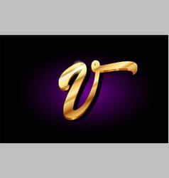 V alphabet letter golden 3d logo icon design vector