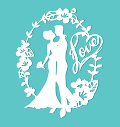 Vintage silhouette wedding groom bride love wreath vector
