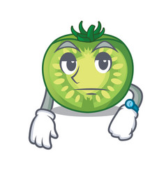 Waiting green tomato slices isolated with mascot vector