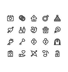Wedding line icons vector