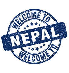 Welcome to nepal blue round vintage stamp vector