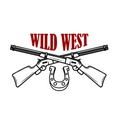 wild west emblem template with crossed rifles vector image
