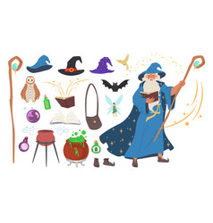 wizard magician warlock witch tools set flat vector image