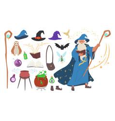 Wizard magician warlock witch tools set flat vector