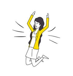 woman celebrating with hands up vector image