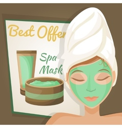 Woman in spa mask vector