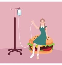 Woman sick because of junk food burger vector