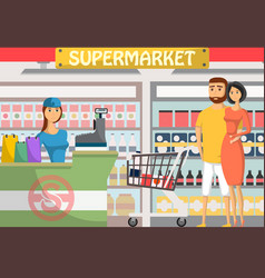 young couple shopping at supermarket banner vector image