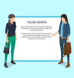 Young women poster with white frame and students vector