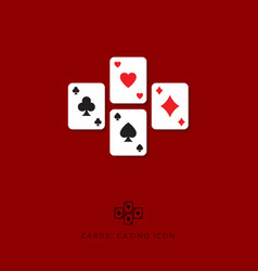 flat icon card game casino icon vector image vector image