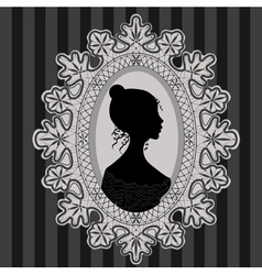 Girl in lace oval frame vector image vector image