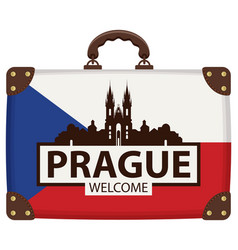 travel bag with czech flag and church of our lady vector image