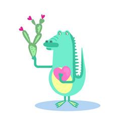 cute crocodile with heart vector image