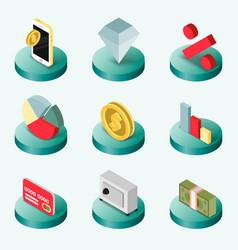 finance flat isometric icons vector image vector image