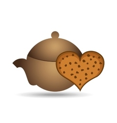pot coffee cookie heart bakery icon design graphic vector image