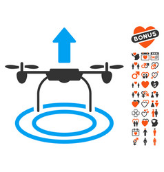 start drone icon with dating bonus vector image