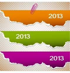 Torn paper banners with space for text 2013 vector image vector image
