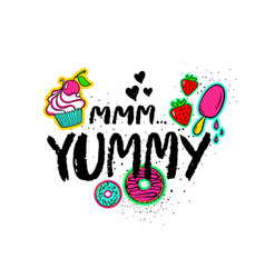 hand drawn lettering with sweets vector image vector image