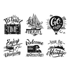 monochrome travel labels set with hand writing vector image vector image