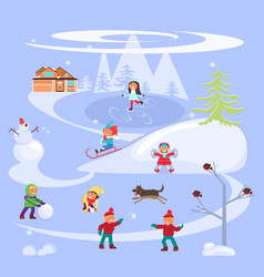 winter scene with children vector image vector image
