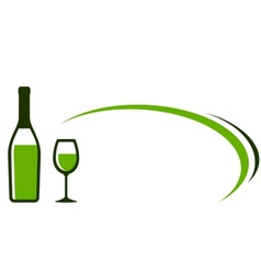 background with white wine bottle and glass icon vector image vector image