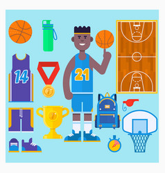 basketball player and basketball icon setsimple vector image