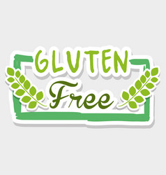 gluten free message with organic leaves vector image