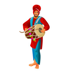 punjabi bhangra drummer in national cloth vector image vector image