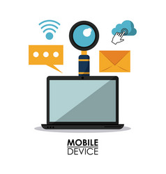 white background poster of mobile devices with vector image vector image