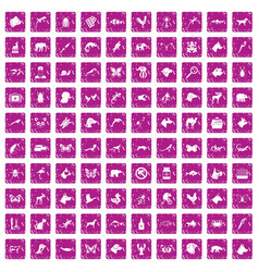 100 animals icons set grunge pink vector image