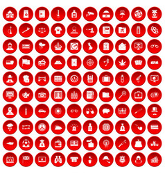 100 police icons set red vector