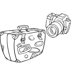 A set of tourist camera and a suitcase packed full vector
