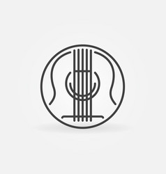 Acoustic guitar concept round outline icon vector