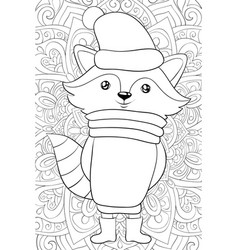 Adult coloring bookpage a cute cartoon ratton vector