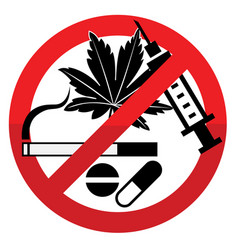 Against drug abuse day sign 01 vector