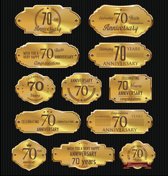 Anniversary golden labels collection 70 years vector