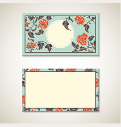 Asian floral business visit card template vector
