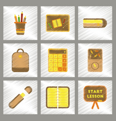 assembly flat shading style icons office pins vector image