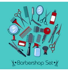 Barber and Hairdresser Tools Set in flat style vector