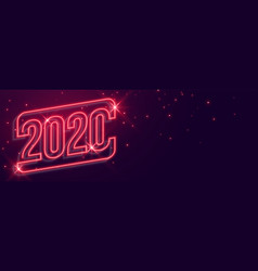 beautiful 2020 new year neon style glowing banner vector image