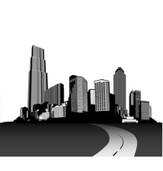 Black and white cityscape with skyscrapers and vector
