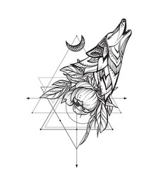 black and white wolf peony vector image
