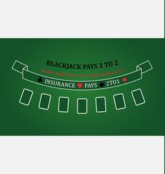 black jack table eps 10 casino vector image