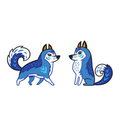 Blue siberian husky dog vector