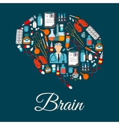 Brain symbol designed of medical tools and items vector image