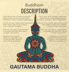 Buddha floral pattern background vector
