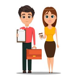 Business man and business woman cartoon vector