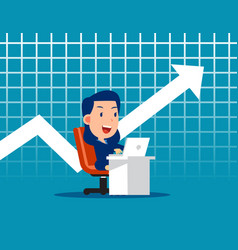 Business worker and chart background growth vector