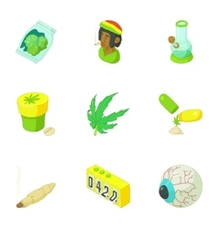 Cannabis icons set cartoon style vector image